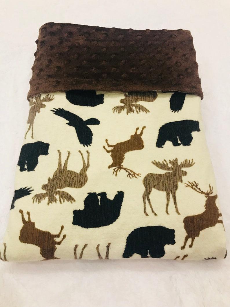 woodland Babytoddler blanket elk moose birds and deerBrownwoodland creatures