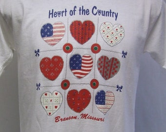 Vintage Branson MO. Missouri Heart of Country Best Tag 50/50 Blend Large NOS