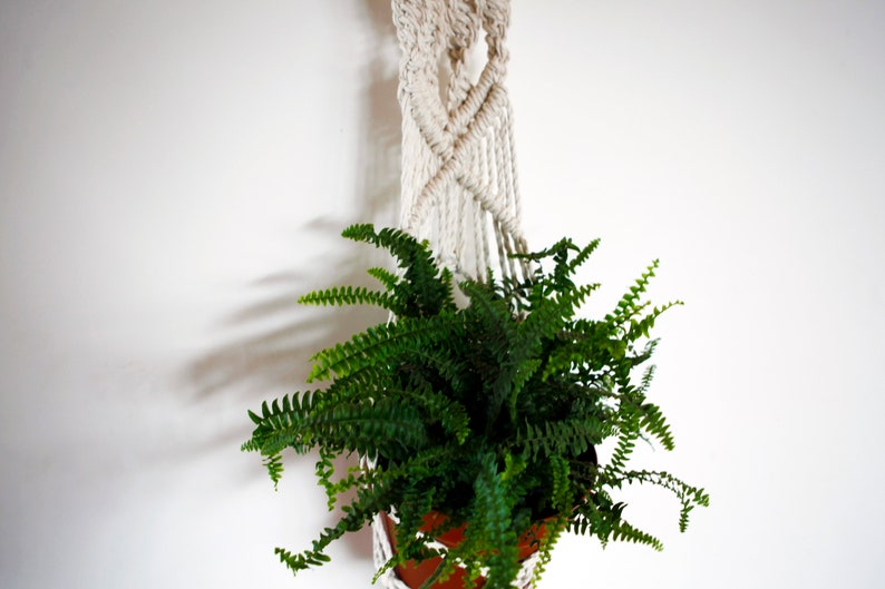 Boho decor macrame plant hanger from natural cotton