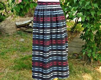 Fits US Size 10-12 Waist 32 Pink Green Short Skirt; High Waisted Wide Waistband Gathers; Pocket; West African Wax Cotton