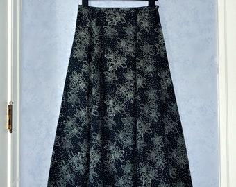 4a65e6a38d Anokhi Black Indian Cotton Floral Print Skirt, Size 12, L, XL ~ Vintage  1980s, 80s Festival, Bohemian, Hippie