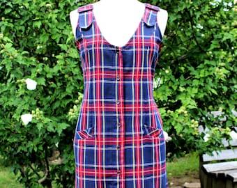 Vintage Mizz Lizz Buckle Shoulder Rayon Blend Jumper 80s Red Blue Tartan Plaid Market Dress Size S M