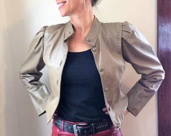 Beige Leather Cropped Bomber JACKET ~ Vintage 1980s Winlet Listeff Fashions, Biker, Rocker, Punk, New Wave, Hipster ~ Womens size XS S