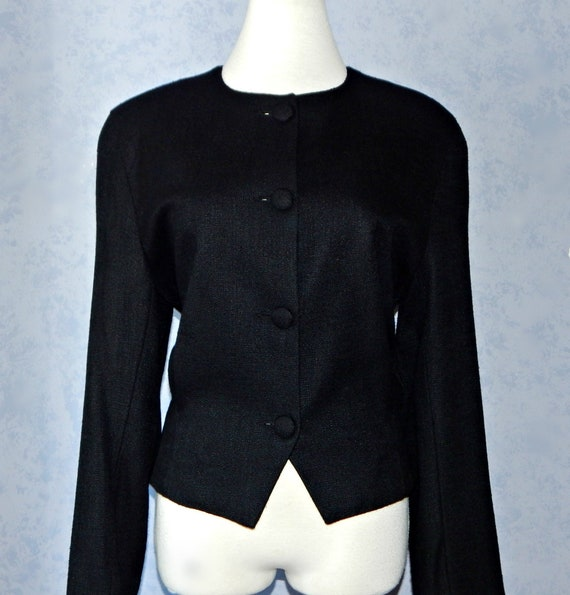 Brooks Brothers Black Cropped Fitted Jacket, Size