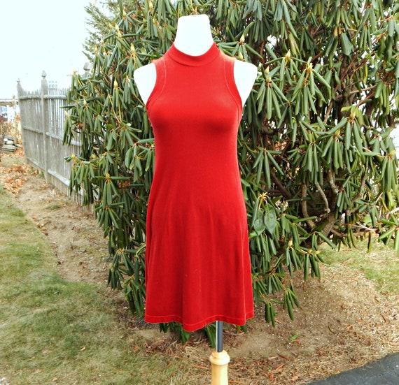 Betsey Johnson Red Velour Mock Turtleneck Dress, S