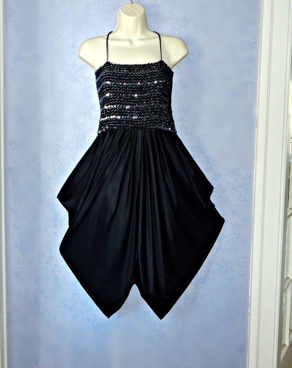 77fc36e90a Black and Metallic Silver Sequin DISCO DRESS Vintage 1970s