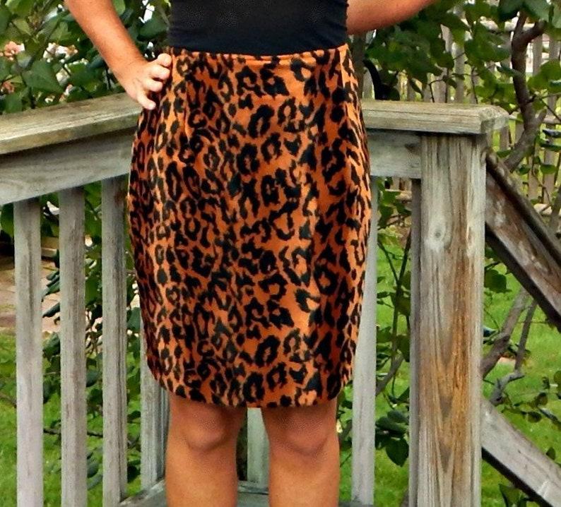 6bf63852e716 Leopard Print Faux Fur Short Skirt Vintage 1990s 90s Cache | Etsy