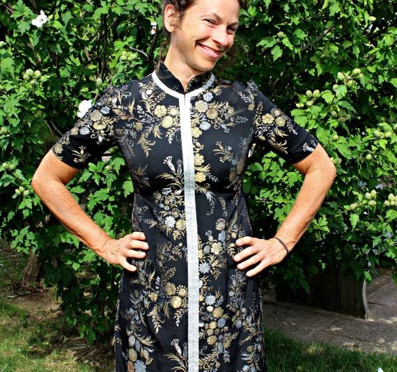 50s 60s Asian Black Brocade Cheongsam Dress Size S