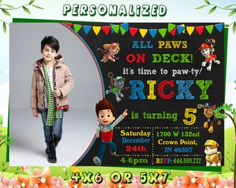 Paw Patrol Invitation Birthday Printable Card Invites