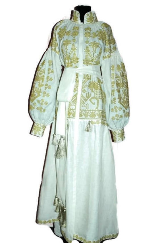 Embroidered boho wedding dress plus size with gold Ukrainian embroidery  Vyshyvanka White linen robe kaftan Evening gown