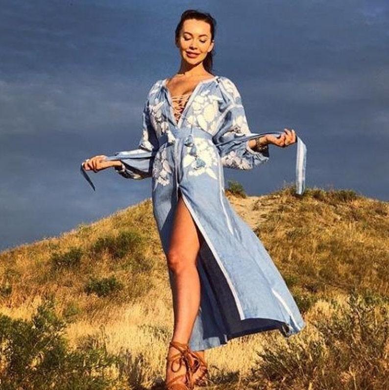 f065fae89090c Plus size beach boho dress with pockets Vyshyvanka with | Etsy