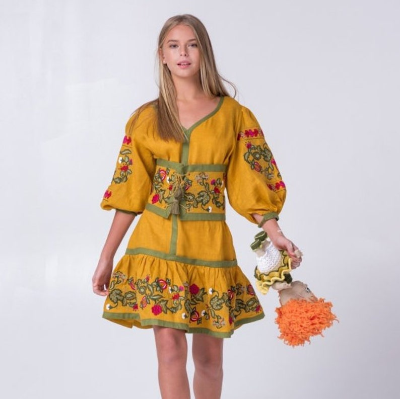 bcdabd217702 Mustard boho dress with corset Vyshyvanka with Ukrainian