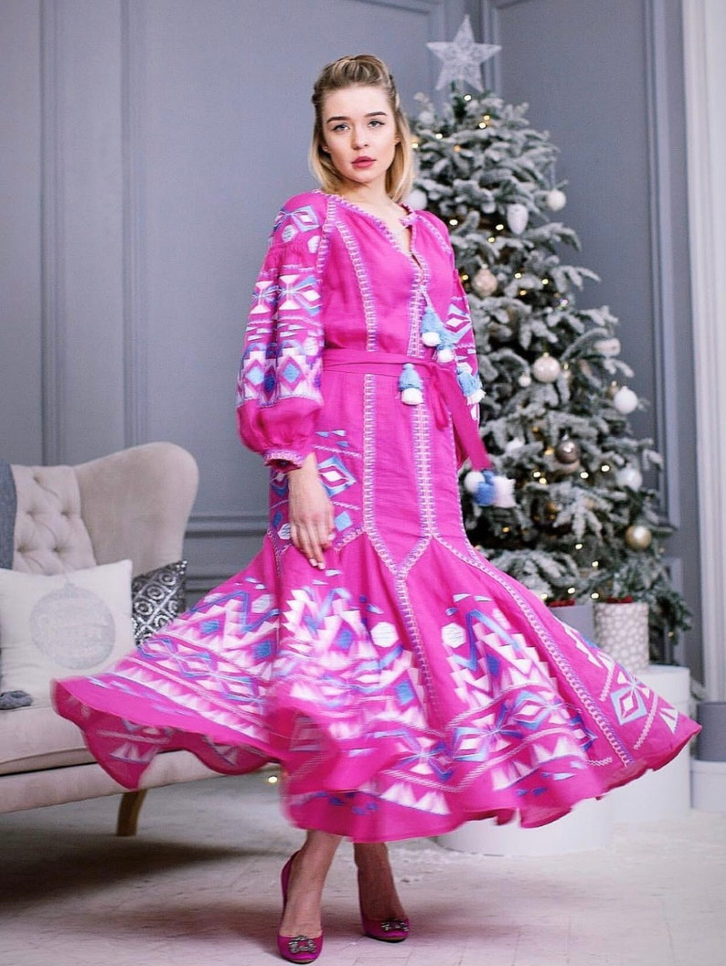 Boho Wedding Guest Dress Vyshyvanka With Ethnic Ukrainian Embroidery Embroidered Bohemian Maxi Dress Plus Size Evening Gown