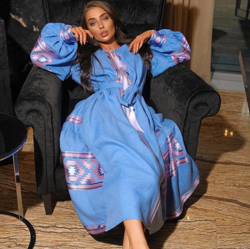 4f72015774 Ukrainian dress off shoulder Vyshyvanka in blue linen with