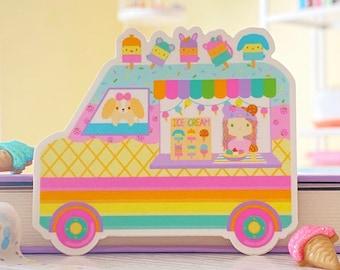 Ice Cream Truck Sticker - Gingerbread Charms - Kawaii Vinyl Sticker - Cute Character Stickers - Cute Ice Cream Waterproof Die Cut Sticker