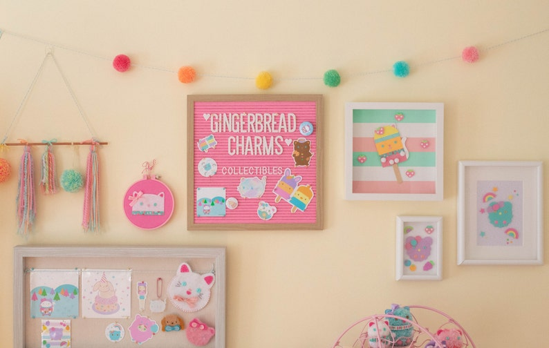 Cute Decor Ideas Pastel Party Decor Pom Pom Banner Handmade Pom Pom Garland Pom Pom Decor Handmade Pom Poms Gingerbread Charms