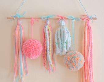Pom Pom and Tassel Wall Hanging - Gingerbread Charms - Handmade Pom Poms and Tassels - Pom Pom Decor - Tassel Decor - Cute Decor Ideas
