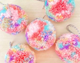 Funfetti Pom Pom Ornament - Gingerbread Charms - Handmade Pom Poms - Pastel Party Decor - Pom Pom Decor - Cute Decor Ideas - Cute Ornaments