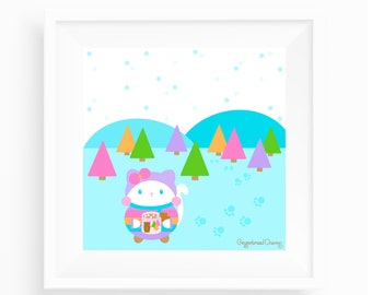 Snowbelle Wintertime Art Print - Gingerbread Charms - Cute Kitty - Kawaii Art Print - Cute Wall Art - Cute Home Decor - Kawaii Illustration