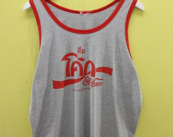 3148a7624c13ff Vintage Coca Cola Thailand Sleeveless T Shirt Top Tank Soft Drink Promo  Shirt