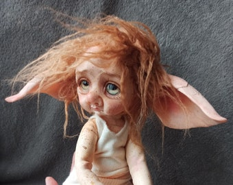 Little gnome girl Poseable Art Doll sweet, life like OOAK, Polymer clay