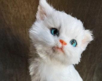 White kitten,  realistic animal, poseable art doll, ooak