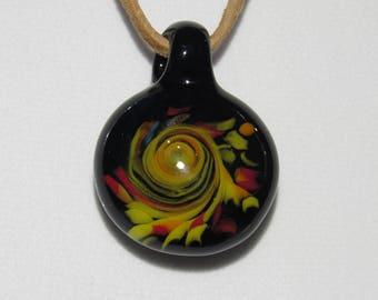 "Magrathea Glass Yellow, Red, and Black ""Jynnan Tonnyx Gyre"" Pendant"