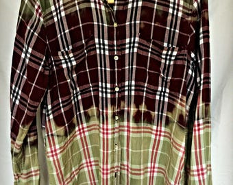Long Sleeve Bleached Dip-Dyed Plaid Ladies Shirt NOT FLANNEL