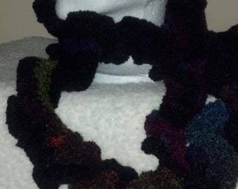Crocheted Multi Color Ruffle Scarf