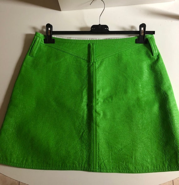 Courrèges short skirt vinyl green 70s