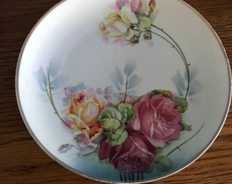 "Vintage Weimar Hand Painted Rose Porcelain 8 1/2"" Plate Germany"