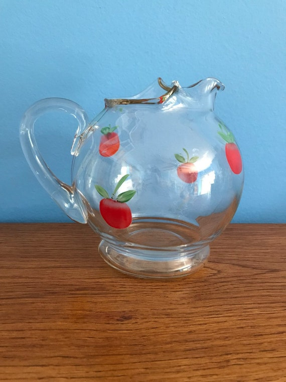 Vintage Small Clear Glass Pitcher With Handpainted Apples