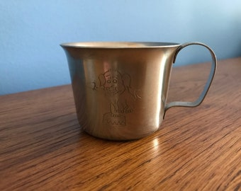 Vintage Stainless Steel Child Cup with Engraved Circus Elephant