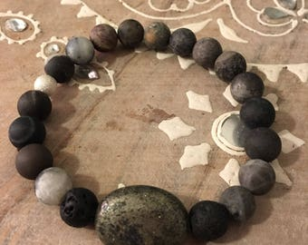 Handmade gemstone bracelet made with Matte Amazonite, Pyrite and Lava