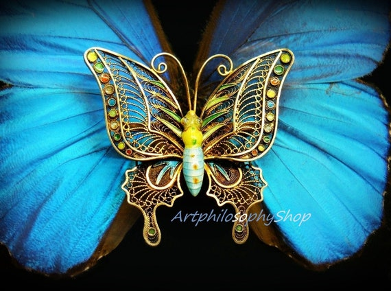 Huge Early 1900's Silver Filigree Enamel Butterfly