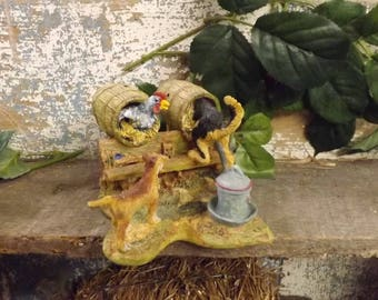 Lowell Davis Get One For Me Dogs Rading Chickens Figurine