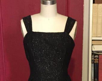 1960s Evening Black Sparkle Gown