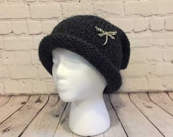 1220ff7321b4f Womens Charcoal Knit Hat with Dragonfly Pin