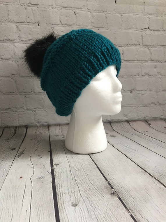 Women s Teal Winter Hat with Black Pom  d8523b4e267
