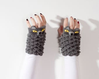 Cat fingerless gloves Love Cats Mittens Gray Fingerless Gloves