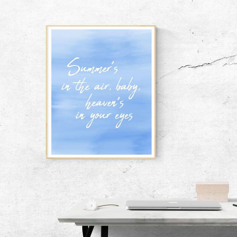 picture regarding National Anthem Lyrics Printable titled Lana Del Rey Countrywide Anthem Lyrics Instantaneous Obtain Printable Wall Artwork  Summer season Artwork Typography Blue Wall Artwork Watercolor Revolutionary