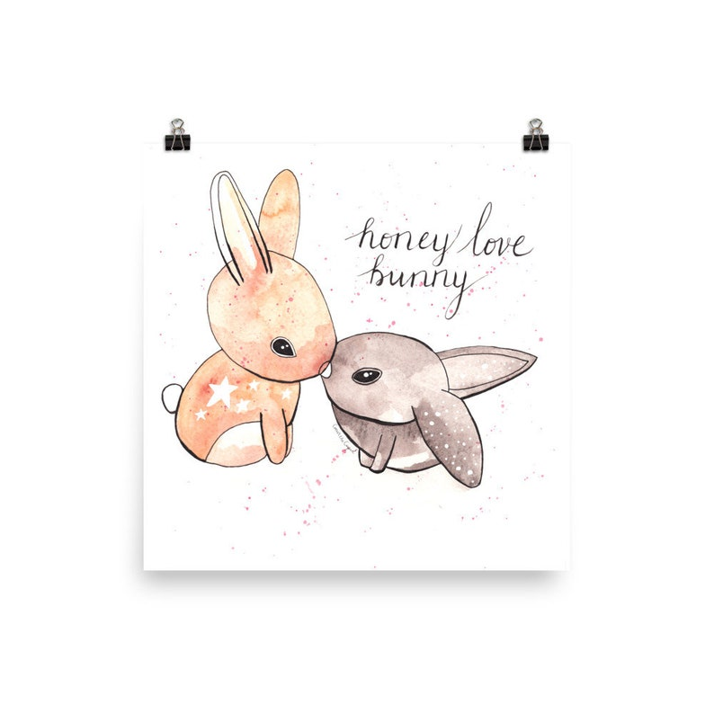 Honey Love Bunny Matte Art Print No Frame image 0