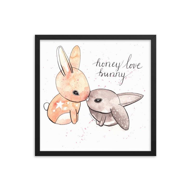 Honey Love Bunny Framed Matte Art Print image 0