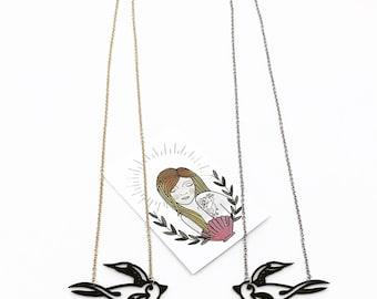 Vinyl swallow necklace