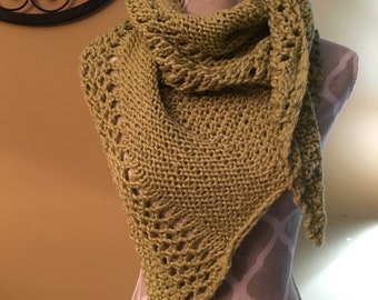 Handknit cotton asymetrical triangle lace shawl