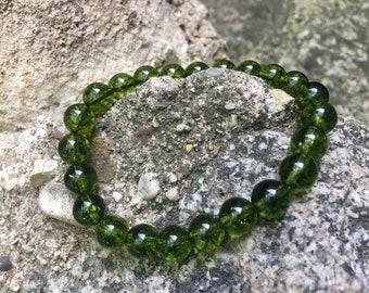Peridot stretch bracelet. 8mm stones.