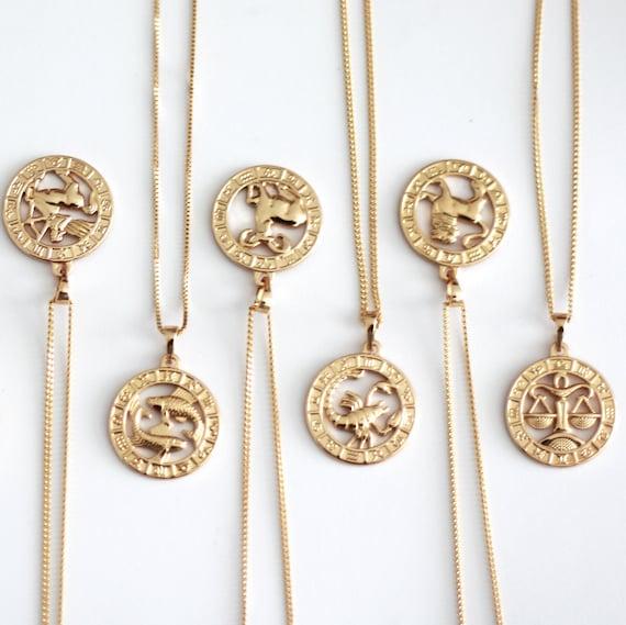 17f83b422 Rose Gold Plated Zodiac Pendant Zodiac Jewelry 18K Plated | Etsy