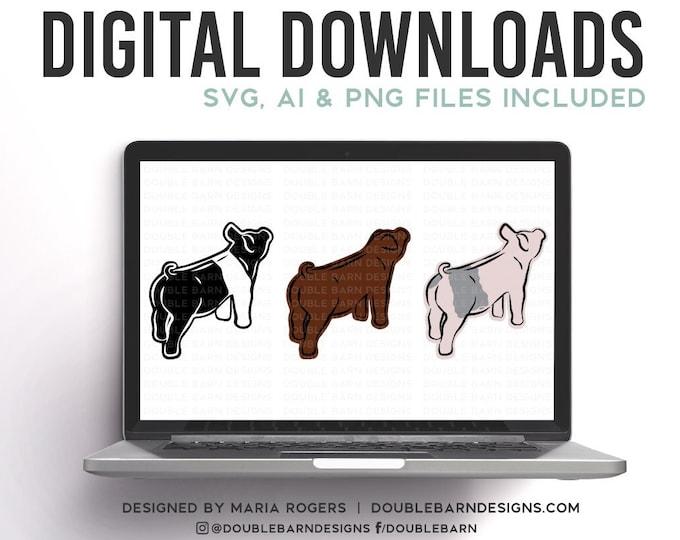 Showpig Outline Digital Downloads | Hampshire - Blue Butt - Duroc | SVG - AI - PNG
