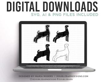 Show Market Goat Designs | Market Wether Type Goat | Bundle of four Digital Downloads | SVG, PNG, Ai |Commercial License