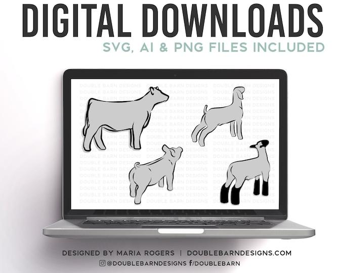 UPDATED Show Livestock Set Digital Download - Market Heifer, Lamb, Pig, Goat